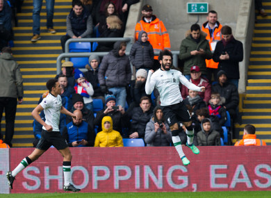 Mohamed Salah celebrates scoring his side's second goal during the Premier League match between Crystal Palace and Liverpool at Selhurst Park.