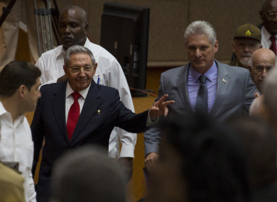Cuba's President Raul Castro, followed by his successor Miguel Diaz-Canel