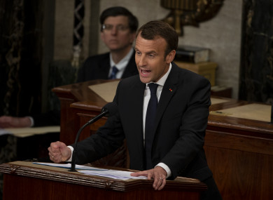 French President Emmanuel Macron delivers a joint address to the United States congress at the United States Capitol in Washington.