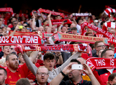 Liverpool supporters at Landsdowne Road last August.