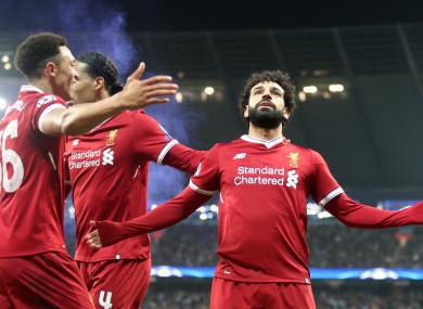 Mo Salah celebrates a goal.