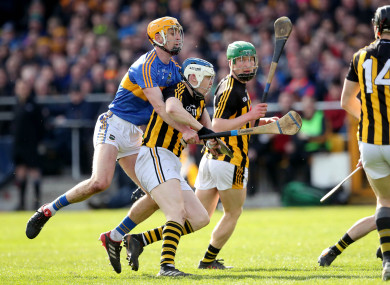 Kilkenny's TJ Reid in action against Tipperary's Barry Heffernan.