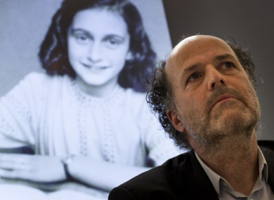 Ronald Leopold of the Anne Frank Foundation listens during a press conference at the foundation's office in Amsterdam, the Netherlands, today.