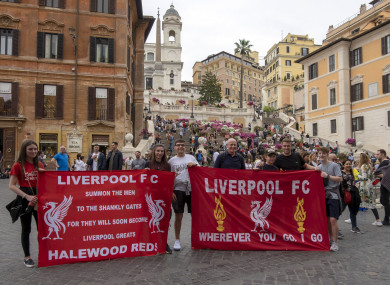 Liverpool fans in Rome ahead of tonight's match.