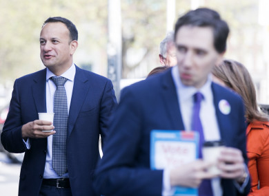 Leo Varadkar and Simon Harris out canvassing for a Yes vote.