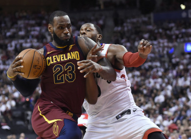 LeBron James in action against the Raptors.