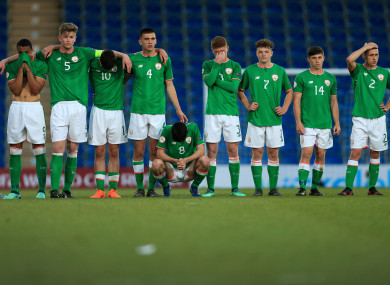 Ireland players dejected after losing the penalty shootout.