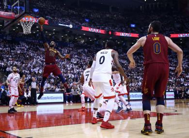 LeBron James goes up for a shot against the Toronto Raptors