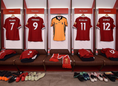 7f73e5b5d The St Peter s Dunboyne GAA jersey hangs in the home dressing room at  Anfield.