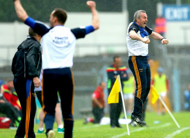 Michael Ryan celebrates Noel McGrath's second-half goal for Tipperary.