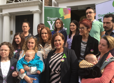 Members of TFMR Ireland at a Together for Yes event in Dublin this morning.