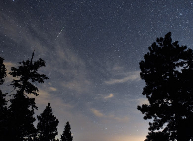 A Perseid meteor streaks across the sky over the Spring Mountains National Recreation Area, 45 miles northwest of Las Vegas.
