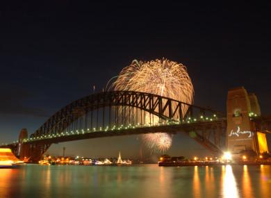 Fireworks over Sydney Harbour Bridge.