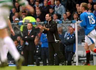 O'Neill managing Celtic in an Old Firm derby at Ibrox back in 2003.