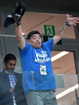 Diego Maradona pictured during the Argentina-Croatia game.