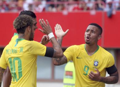 Neymar, Casemiro and Gabriel Jesus celebrate a Brazilian goal.