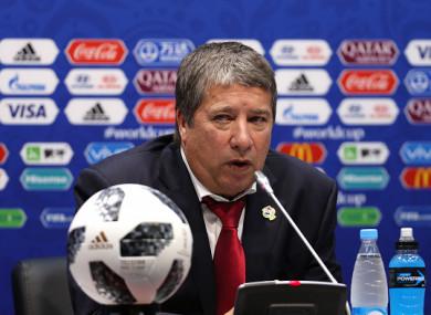 Panama manager Hernan Dario Gomez speaking to the media.