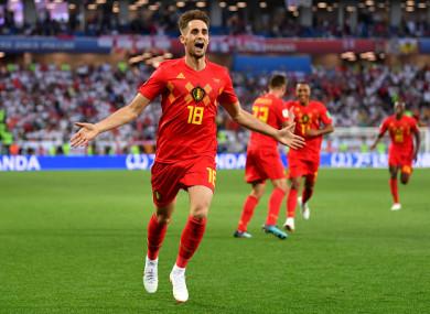 Adnan Januzaj celebrates giving Belgium the lead on Thursday evening.
