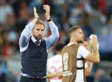England manager Gareth Southgate action his side's defeat to Belgium.