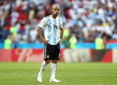 Mascherano at the final whistle following Argentina's World Cup exit.