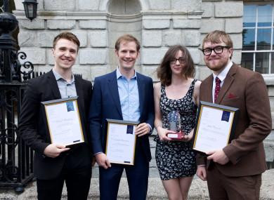 Paul O'Donoghue, Cianan Brennan, Gráinne Ní Aodha and Sean Murray at yesterday's Justice Media Awards.