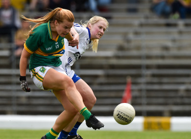 Andrea Murphy sees past Megan Dunford to score a goal for Kerry.