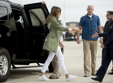 First Lady Melania Trump arrives to board a plane at Andrews Air Force Base