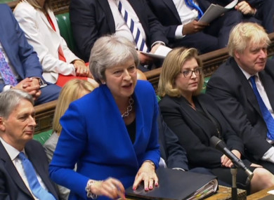 Prime Minister Theresa May speaks during Prime Minister's Questions today.