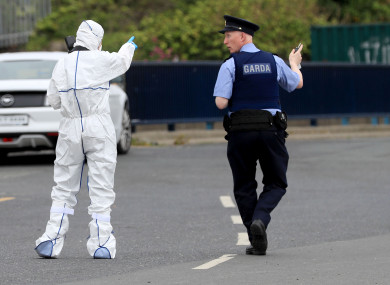 Forensic detectives at the scene of a shooting incident at Bray Boxing Club in The Harbour, Bray, Co. Wicklow.