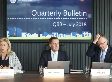 Head of Communications, Jill Forde, Director of Economics and Statistics, Mark Cassidy and Head of Irish Economic Analysis, John Flynn in in Central Bank of Ireland.