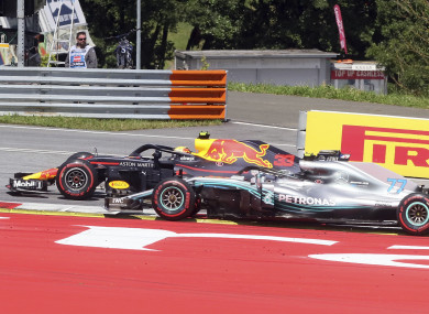 Max Verstappen and Mercedes driver Valtteri Bottas side by side during today's race.