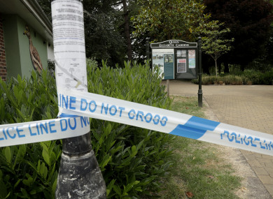 Police tape cordons off the Queen Elizabeth Gardens park in Salisbury.