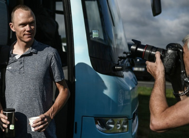 Froome getting off the Team Sky bus in Saint-Mars-la-Reorthe yesterday.