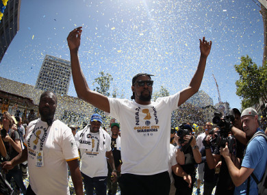 Durant helped the Warriors to the NBA title last season.