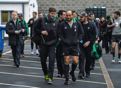 Easterby and Best lead the squad to an open training session at Kingspan Stadium in 2015.