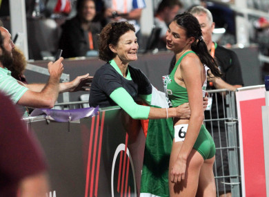 Sophie O'Sullivan celebrates her European silver medal success with her mother Sonia.