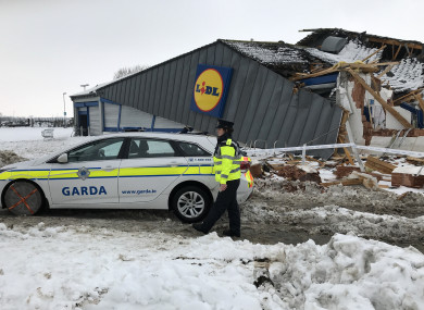 The site of the store after the damage caused during Storm Emma