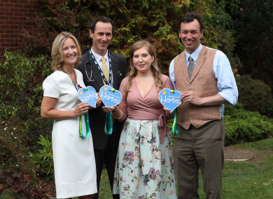 Chloe Greene (third right) pictured honouring Consultant Physician Cora McNally and Consultants in Infectious Diseases Mr Sam McConkey and Mr Eoghan de Barra.