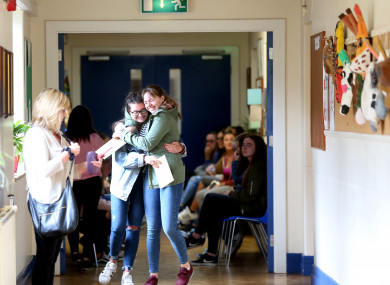 Students in Maryfield College receiving their Leaving Cert results.