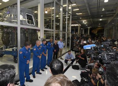 NASA's astronaut's Bob Behnken, Doug Hurley, Mike Hopkins, Victor Glover and Director of Crew Mission Management Benji Reed, and SpaceX Senior Advisor for Human Spaceflight Garrett Reisman
