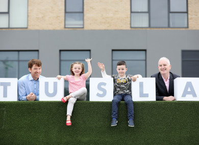 The launch of Tusla's new database yesterday with Scott McDonagh (6) and Naoise Roddy (6) in the middle of Gerard Brophy (left) and Fergal Collins (right)