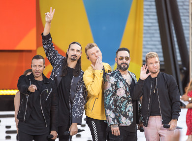 The Backstreet Boys performing in Central Park, New York.