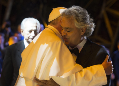 Pope Francis with Andrea Bocelli at  World Meeting of Families in Philadelphia, USA 2015