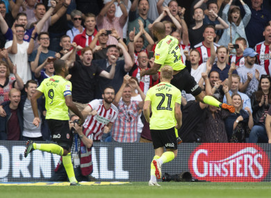 Sheffield United's David Mcgoldrick celebrates scoring his side's second goal of the game.