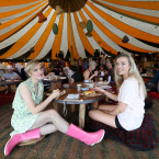 Sinead Pokall and Muireann Ní Bhaoil from Co Galway in the Flying Machine Cafe enjoying breakfast<span class=