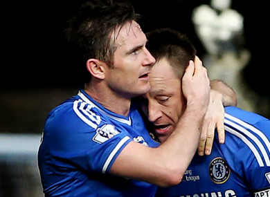 Frank Lampard and John Terry playing for Chelsea in 2014