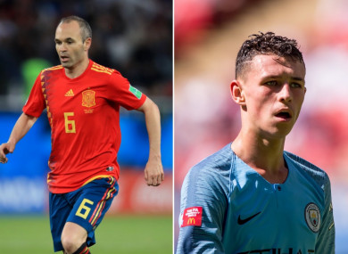 Andres Iniesta and Phil Foden.