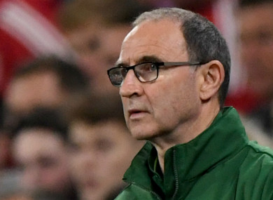Martin O'Neill pictured during tonight's game.