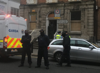 Gardaí outside the property in North Frederick Street as activists were being removed.