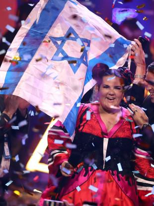 Israel's Netta celebrates her win.